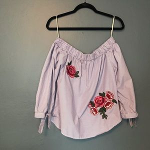 Tops - Off the shoulder blue/white striped top w/roses